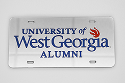 Laser Magic Mirrored Car Tag W/ Univ Of West Ga, Flame, Alumni