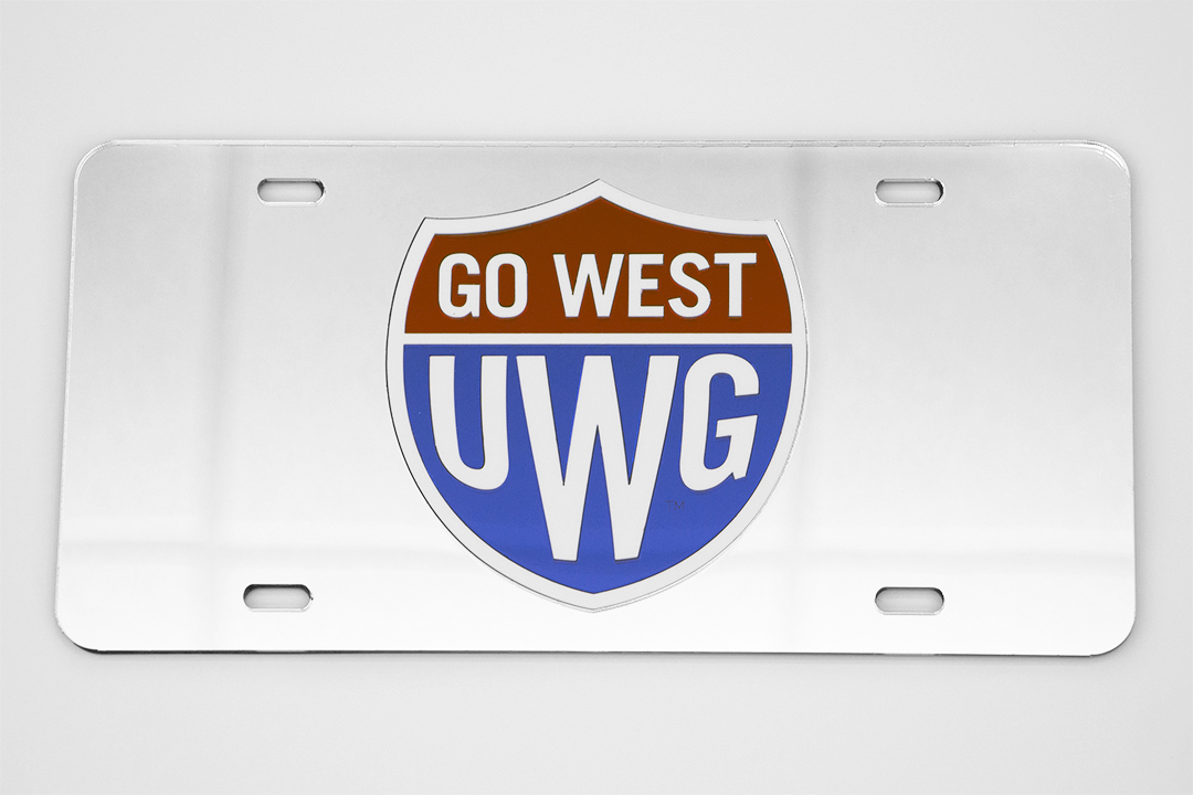 Laser Magic Go West Mirrored Car Tag