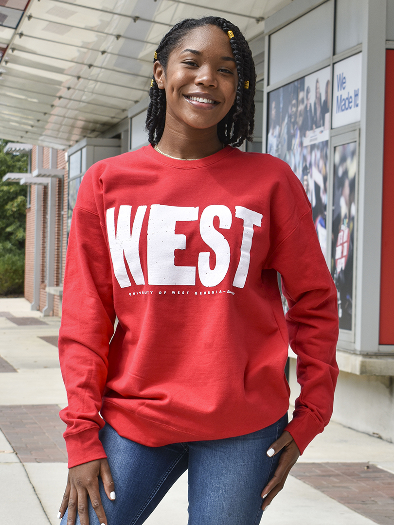 "Distressed ""West""  Sweatshirt In White Print"
