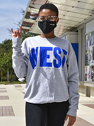 "Distressed ""West"" Sweatshirt In Royal Print"