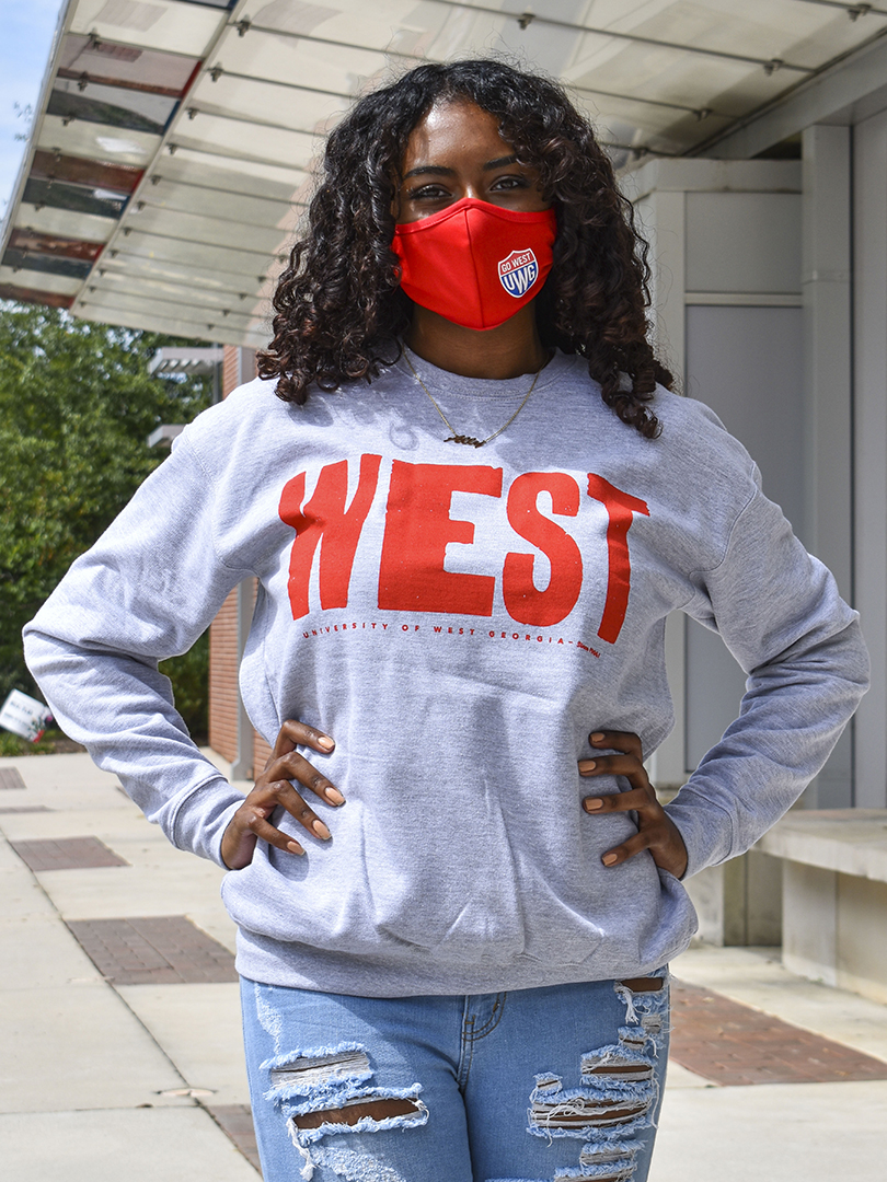 "Distressed ""West""  Sweatshirt In Red Print"