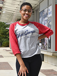 University Of West Ga Raglan Tee/Heather Red Sleeves