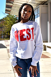 "Distressed ""West""  Sweatshirt Red Print"