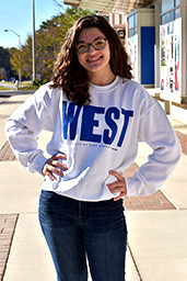 "Distressed ""West""  Sweatshirt Blue  Print"